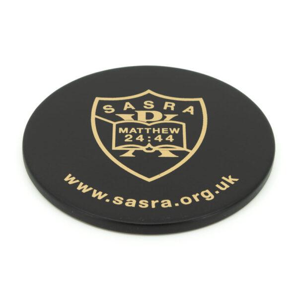 SASRA coaster with logo and URL
