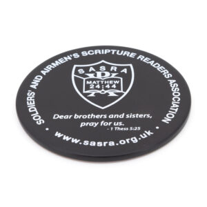 """SASRA coaster with logo, URL & 1 Thess 5:25 """"Dear brothers and sisters, pray for us."""""""
