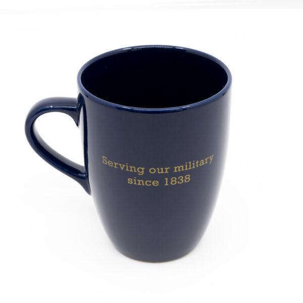 """SASRA mug dark blue, """"Serving our militart since 1883"""" text on back"""