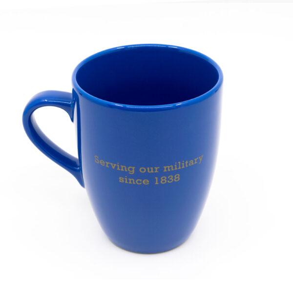 """SASRA mug light blue, """"Serving our militart since 1883"""" text on back"""