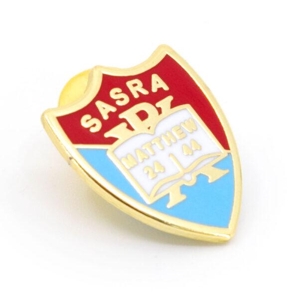Metal SARSA pin badge (front angle)
