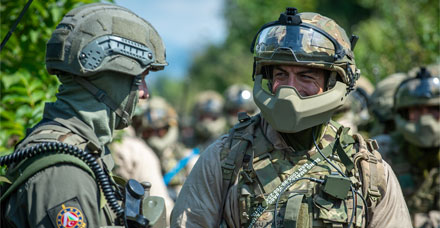 Soldiers of C Coy 3 PARA in public order gear