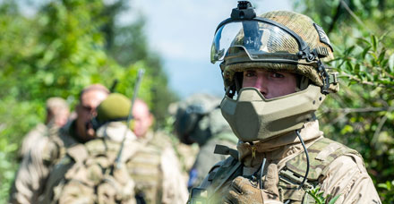 Soldiers of C Coy 3 PARA in public order gear during a tactical demonstration at Camp Butmir, Sarajevo